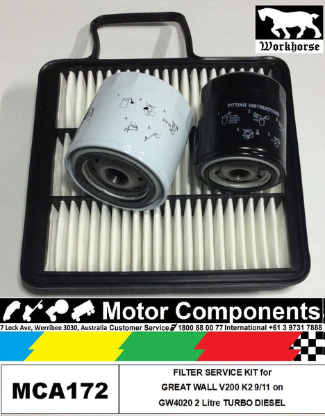 FILTER SERVICE KIT GREAT WALL V200 K2 GW4020 2L TURBO DIESEL 9/11 > Fuel Oil Air