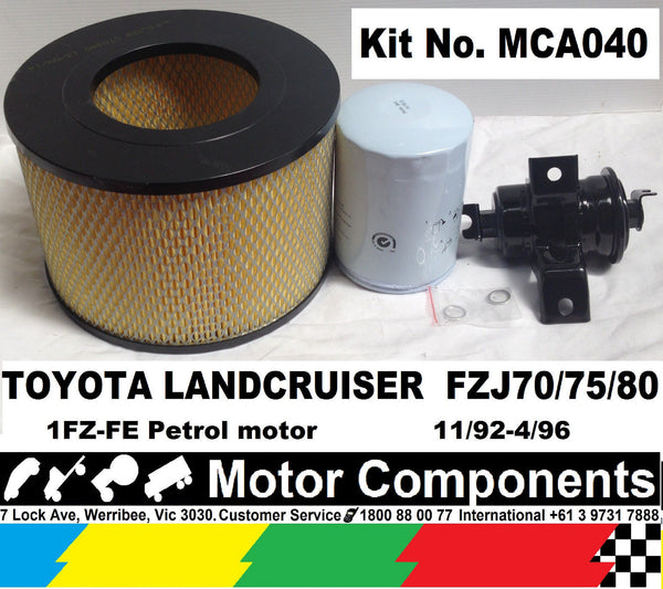 TOYOTA LANDCRUISER FZJ70 FZJ75 FZJ80  1FZ-FE 11/92-4/96 OIL FUEL AIR FITER KIT