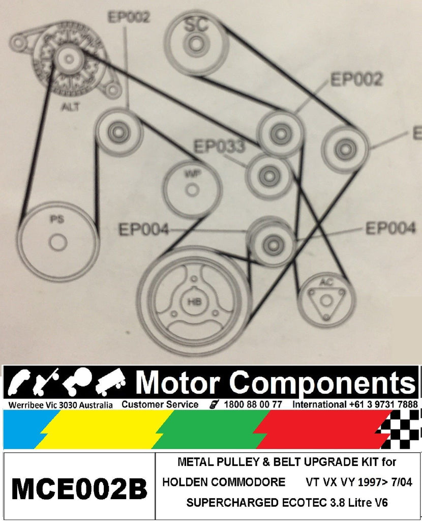 metal pulley upgrade kit for holden commodore vt vx vy 3 8l v6 rh motorco com au Don Up VT Commodore VT Commodore V6 Performance