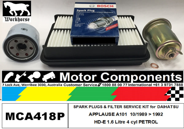 Spark Plug & FILTER SERVICE KIT for DAIHATSU APPLAUSE A101 HD-E 1.6L 10/89 > 92
