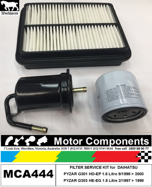 FILTER KIT Oil Air Fuel for DAIHATSU PYZAR G301 HD-EP 1.6L G303 HE-EG 1.5L 97>00
