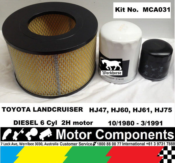 Service Kit  Landcruiser HJ47 HJ60 HJ61 HJ75 2H Diesel Oil Fuel Air filter 80-91