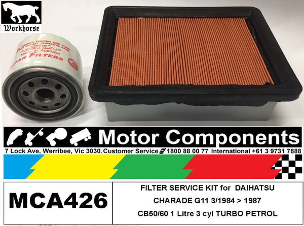 FILTER SERVICE KIT Oil Air Fuel for DAIHATSU CHARADE G11 Turbo CB50/60 1L 84> 87