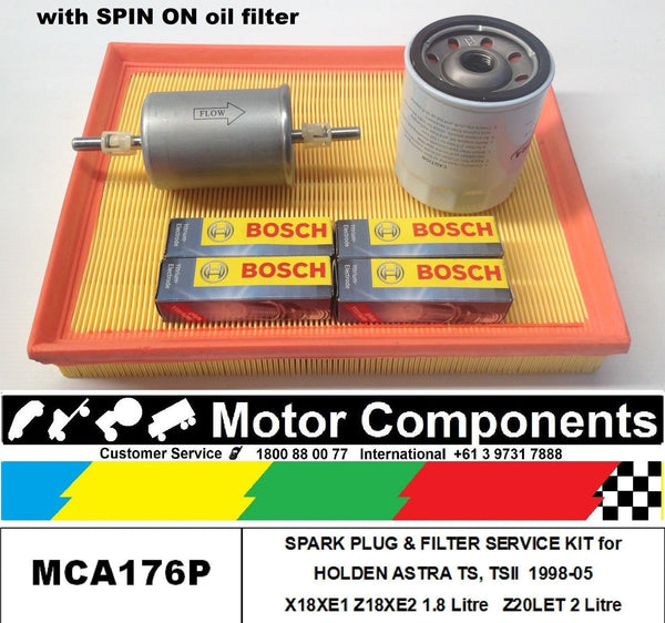 SPARK PLUG & FILTER KIT for HOLDEN ASTRA TS X18XE1, Z18XE2 1.8L Z20LET 2L 98-05