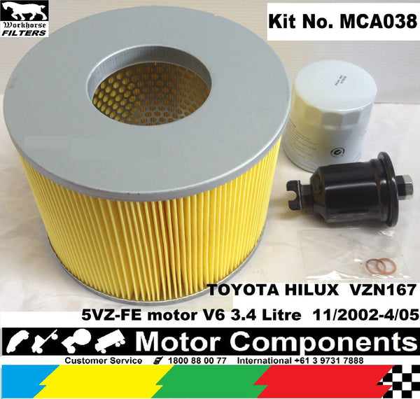 SERVICE KIT HILUX VZN167 5VZ-FE 3.4L V6 PETROL 02 > 4/05 OIL, AIR, FUEL Filters