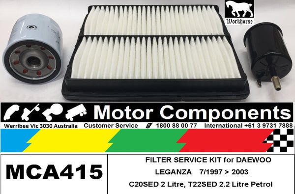 FILTER SERVICE KIT Air Oil Fuel for DAEWOO LEGANZA C20SED 2L T22SED 2.2L 7/97>03