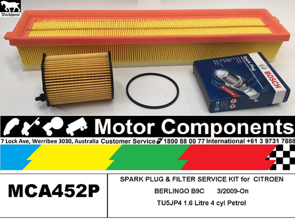 SPARK PLUG & FILTER KIT for CITROEN BERLINGO B9C TU5JP4 1.6L Petrol 3/2009-On
