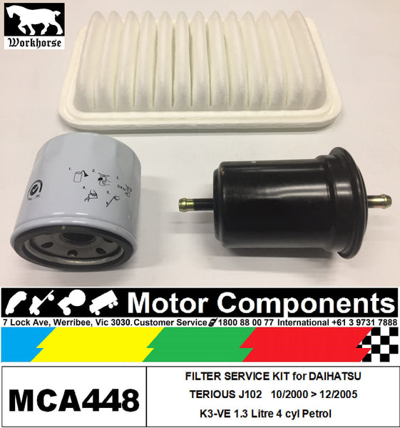 FILTER SERVICE KIT for DAIHATSU TERIOUS J102 K3-VE 1.3L Petrol	4	10/2000>05