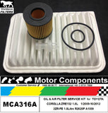 FILTER SERVICE KIT Air Oil for TOYOTA COROLLA ZRE152 1.8L 2ZR-FE 2009 > 2012