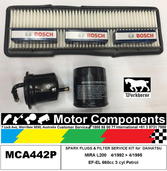 SPARK PLUG & FILTER SERVICE KIT for DAIHATSU MIRA L200  EF-EL 660cc 1992 > 95