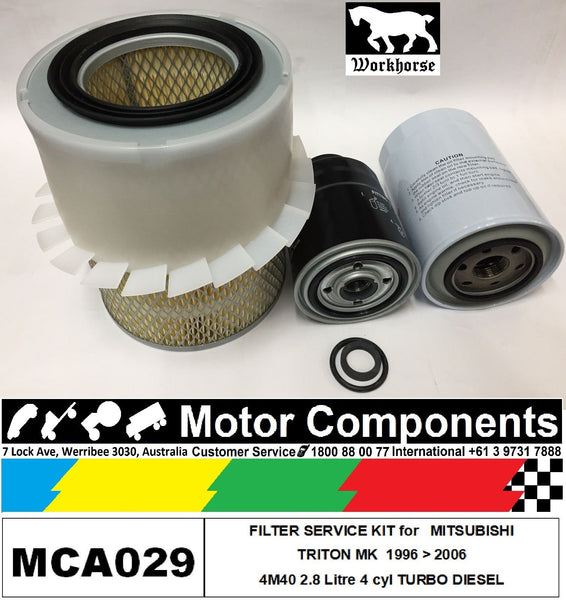 FILTER KIT OIL AIR FUEL MITSUBISHI  MK TRITON  4M40 2.8L TURBO DIESEL 10/96 > 06