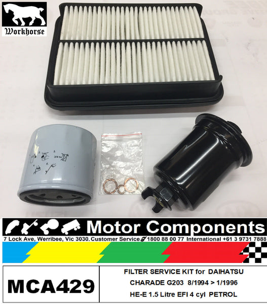 FILTER SERVICE KIT Oil Air Fuel for DAIHATSU CHARADE G203 HE-E 1.5L 8/94>1/1996