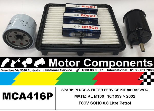 SPARK PLUG & FILTER SERVICE KIT for DAEWOO MATIZ KL M100, M150 0.8L F8CV 99 > 02