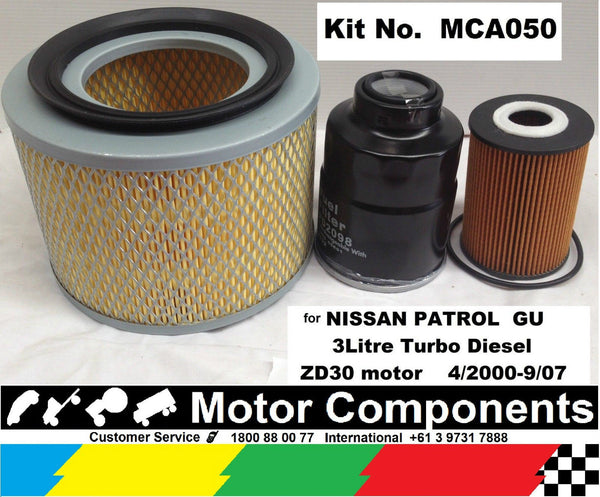 FILTER SERVICE KIT for NISSAN PATROL GU 3Litre TURBO DIESEL ZD30 OIL AIR FUEL