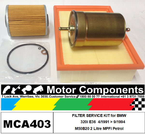 FILTER KIT Oil Air Fuel for BMW 320i E36 M50B20 2 Litre 6 cyl MPFI 4/91 > 9/94