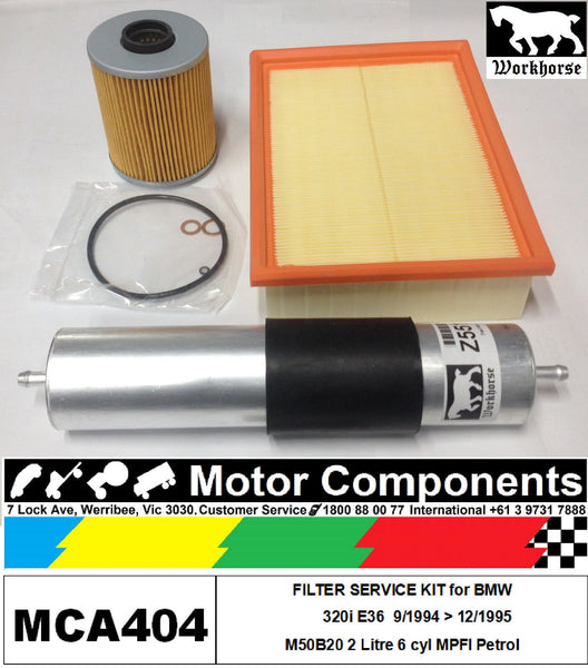 FILTER KIT Oil Air Fuel for BMW 320i E36 M50B20 2 Litre 6 cyl MPFI 9/94 > 12/95