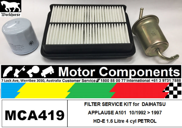 FILTER SERVICE KIT Air Oil Fuel for DAIHATSU APPLAUSE A101 HD-E 1.6L 10/92 > 97