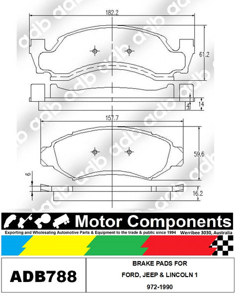 BRAKE PADS ADB788 TO SUIT FORD, JEEP & LINCOLN 1972-1990