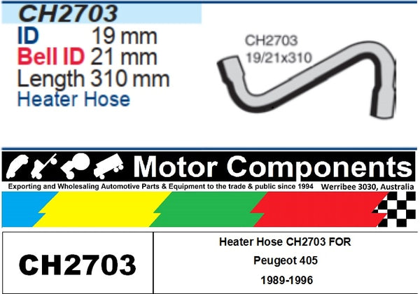 Heater Hose CH2703 FOR Peugeot 405 1989-1996