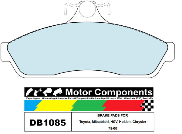 BRAKE PADS DB1085 TO SUIT Toyota, Mitsubishi, HSV, Holden, Chrysler 78-00