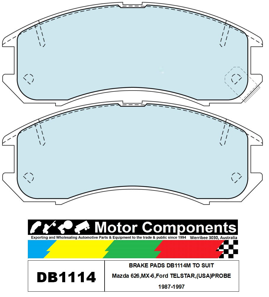 BRAKE PADS SM1114 TO SUIT Mazda 626,MX-6,Ford TELSTAR,(USA)PROBE 1987-1997