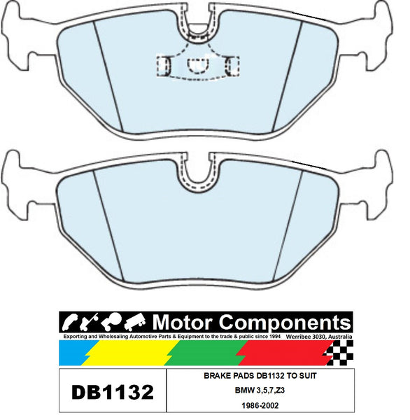 BRAKE PADS DB1132 TO SUIT BMW 3,5,7,Z3 1986-2002