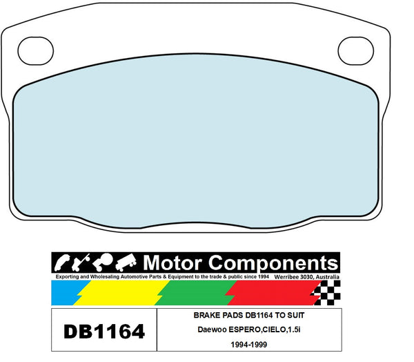 BRAKE PADS DB1164 TO SUIT Daewoo ESPERO,CIELO,1.5i 1994-1999