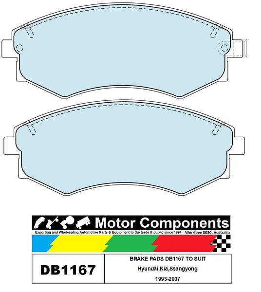 BRAKE PADS DB1167 TO SUIT Hyundai,Kia,Ssangyong 1993-2007