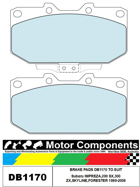 BRAKE PADS DB1170 TO SUIT Subaru IMPREZA,200 SX,300 ZX,SKYLINE,FORESTER 1989-2008