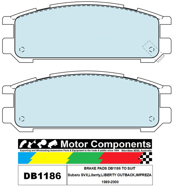 BRAKE PADS DB1186 TO SUIT Subaru SVX,Liberty,LIBERTY OUTBACK,IMPREZA 1989-2000