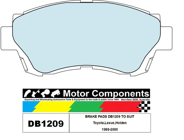 BRAKE PADS DB1209 TO SUIT Toyota,Lexus,Holden 1989-2005