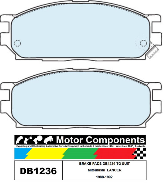 BRAKE PADS DB1236 TO SUIT Mitsubishi  LANCER  1988-1992