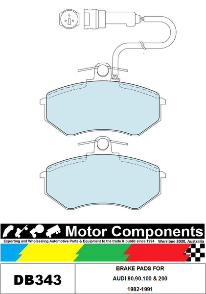 BRAKE PADS DB343 TO SUIT AUDI 80.90,100 & 200 1982-1991