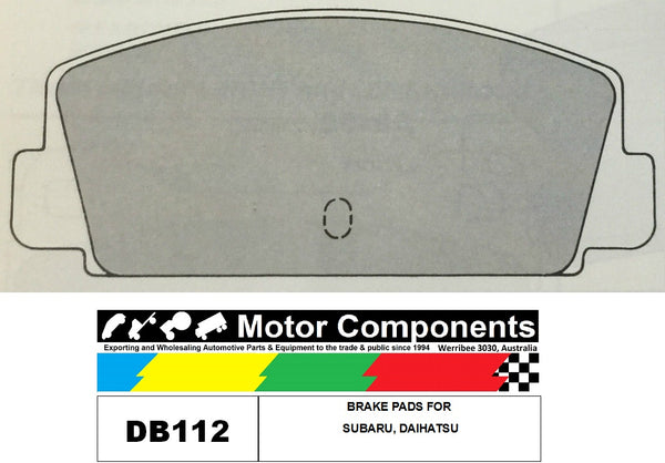 BRAKE PADS FDB112 TO SUIT  SUBARU, Daihatsu 1976-ON