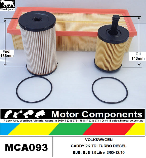 FILTER SERVICE KIT VW CADDY 2K TDi Turbo Diesel 1.9L BJB BLS SOHC 8V 06/06-12/10