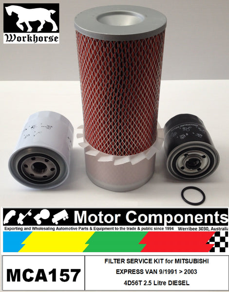 FILTER SERVICE KIT MITSUBISHI EXPRESS VAN 4D56T 2.5L TURBO DIESEL 1991 >2003