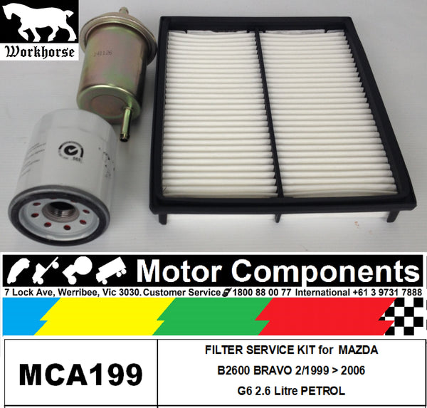 FILTER KIT Oil Air Fuel for MAZDA B2600 BRAVO G6 2.6L PETROL