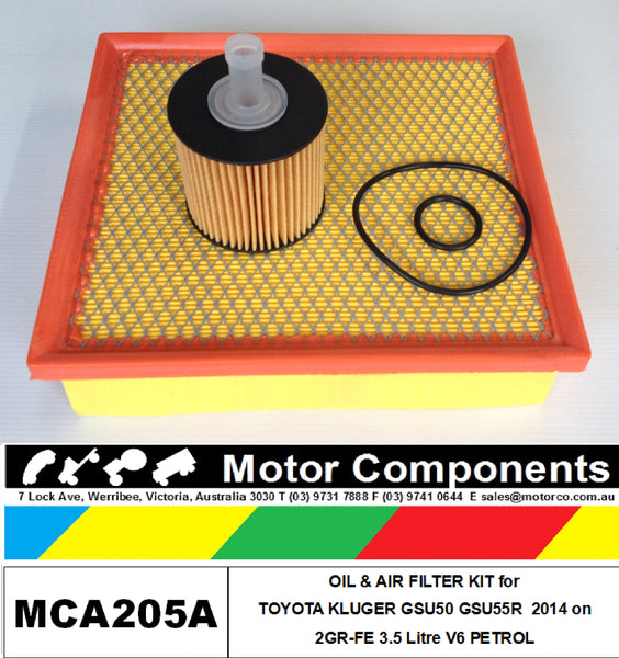 for TOYOTA KLUGER GSU50R GSU55R Petrol V6 3.5L 2GR-FE 3/14-on OIL & AIR FILTER KIT