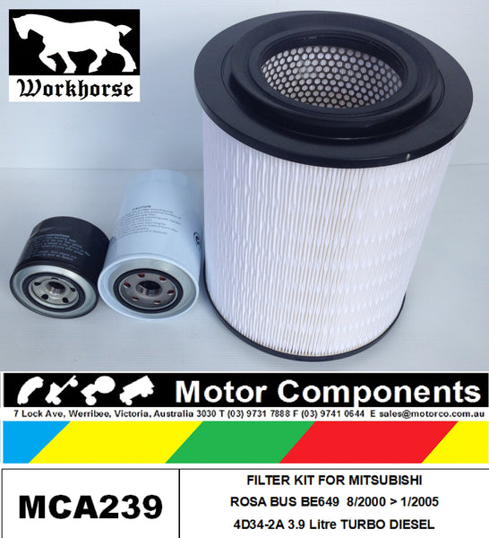 FILTER KIT for MITSUBISHI ROSA BE649 4D34-2A 3.9L TURBO 2000 > 2005