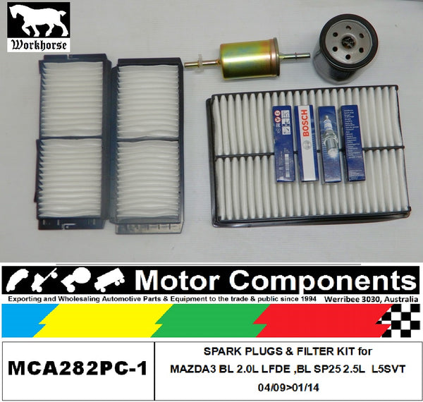 SPARK PLUGS & FILTER KIT for MAZDA3 BL 2.0L LFDE ,BL SP25 2.5L  L5SVT 04/09>01/14