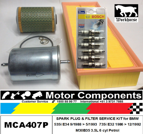 SPARK PLUG FILTER SERVICE KIT for BMW 535i E34 735i E32 M30B35 3.5L 9/88 > 5/1993