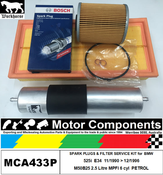 SPARK PLUG & FILTER SERVICE KIT for BMW 525i E34 M50B25 2.5L MPFI 11/90>12/96