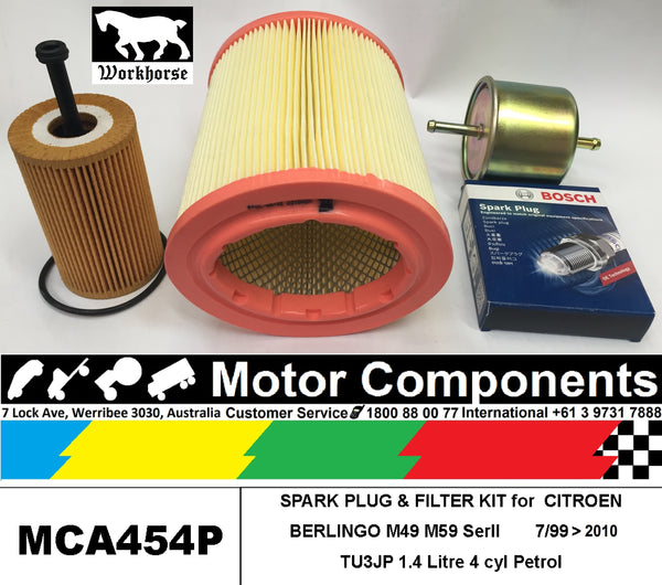SPARK PLUG & FILTER KIT for CITROEN BERLINGO M49 TU3JP 1.4L Petrol 2003 > 2010