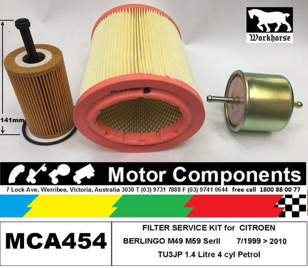 FILTER KIT Air Oil Fuel for CITROEN BERLINGO M49 M59 TU3JP 1.4L Petrol 99 > 2010