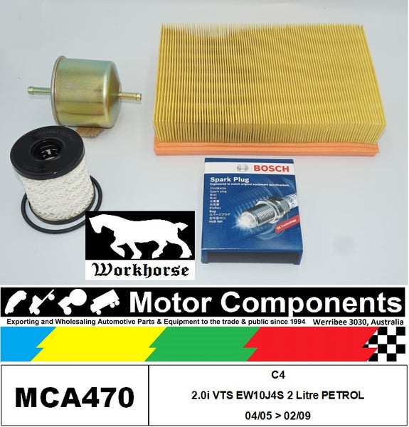 SPARK PLUGS & FILTER SERVICE KIT for CITROEN C4 2.0i VTS EW10J4S 2L Petrol 04/05 > 02/09