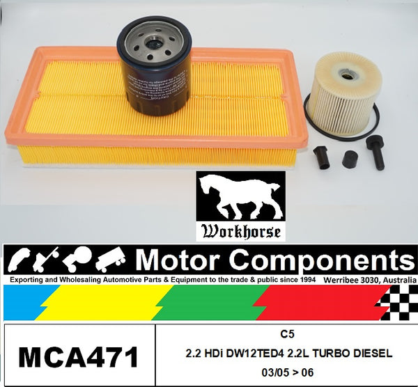 FILTER SERVICE KIT for CITROEN C5 2.2HDi DW12TED4 2.2L TURBO DIESEL 03/05 > 06
