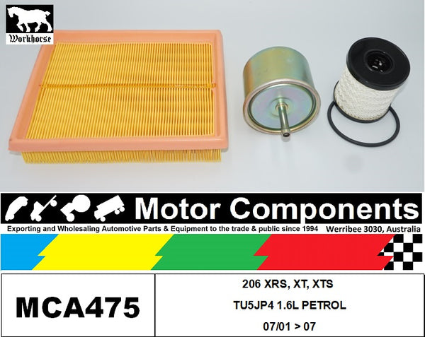 FILTER SERVICE KIT for PEUGEOT 206 XRS, XT, XTS TU5JP4 1.6L PETROL 07/01 > 07