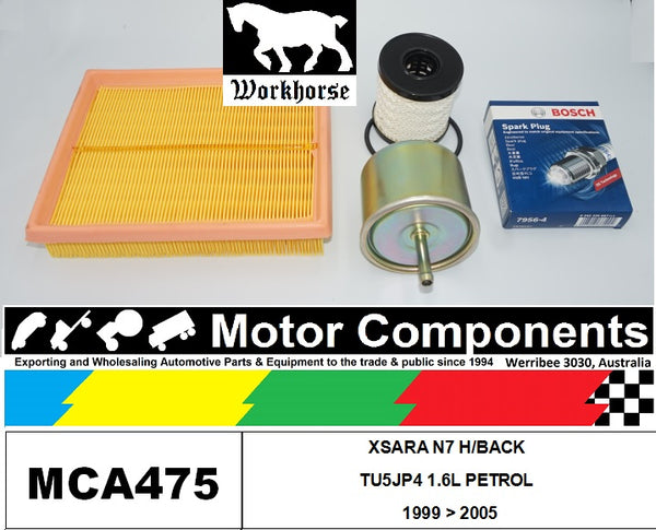 SPARK PLUGS & FILTER SERVICE KIT for CITROEN XSARA N7 H/BACK TU5JP4 1.6L PETROL 1999 > 2005