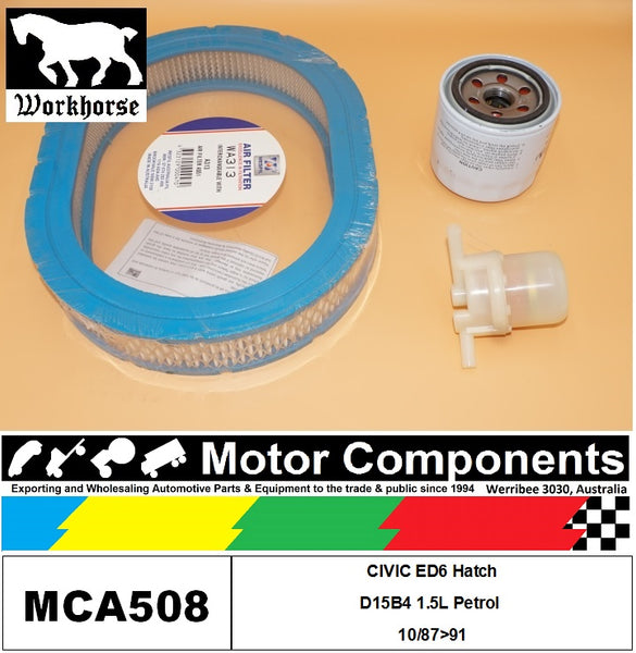 FILTER SERVICE KIT for Honda CIVIC ED6 Hatch D15B4 1.5L Petrol 10/87>91