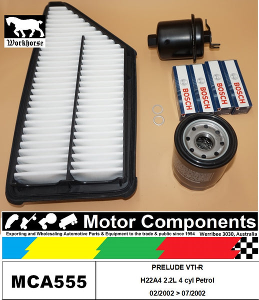 SPARK PLUG & FILTER KIT for HONDA PRELUDE VTI-R H22A4 2.2L 2/02>7/02